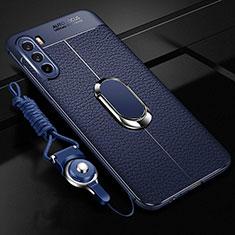 Funda Silicona Goma de Cuero Carcasa con Magnetico Anillo de dedo Soporte S01 para Huawei Mate 40 Lite 5G Azul