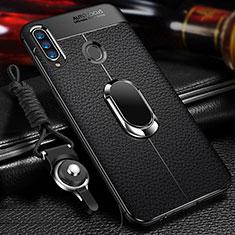 Funda Silicona Goma de Cuero Carcasa con Magnetico Anillo de dedo Soporte S01 para Samsung Galaxy A20s Negro