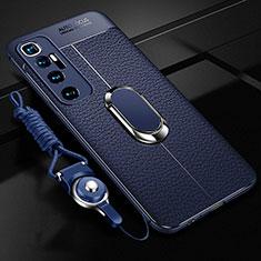 Funda Silicona Goma de Cuero Carcasa con Magnetico Anillo de dedo Soporte S01 para Xiaomi Mi 10 Ultra Azul