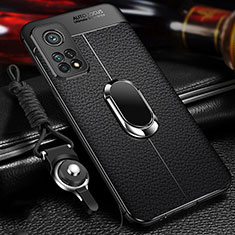 Funda Silicona Goma de Cuero Carcasa con Magnetico Anillo de dedo Soporte S01 para Xiaomi Mi 10T 5G Negro