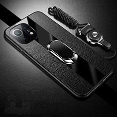 Funda Silicona Goma de Cuero Carcasa con Magnetico Anillo de dedo Soporte S01 para Xiaomi Mi 11 5G Negro