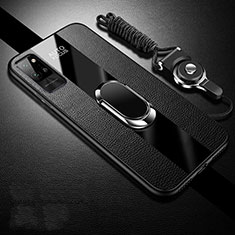 Funda Silicona Goma de Cuero Carcasa con Magnetico Anillo de dedo Soporte S02 para Huawei Honor Play4 Pro 5G Negro