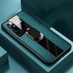 Funda Silicona Goma de Cuero Carcasa con Magnetico Anillo de dedo Soporte S02 para Xiaomi Mi 10 Ultra Verde