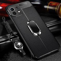 Funda Silicona Goma de Cuero Carcasa con Magnetico Anillo de dedo Soporte S02 para Xiaomi Mi 11 5G Negro