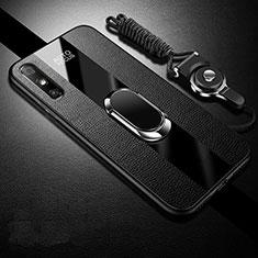 Funda Silicona Goma de Cuero Carcasa con Magnetico Anillo de dedo Soporte S03 para Huawei Enjoy 10e Negro