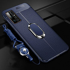 Funda Silicona Goma de Cuero Carcasa con Magnetico Anillo de dedo Soporte S03 para Huawei Honor 30 Azul