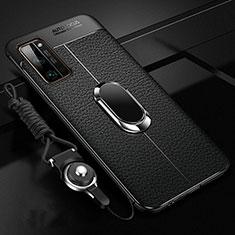 Funda Silicona Goma de Cuero Carcasa con Magnetico Anillo de dedo Soporte S03 para Huawei Honor 30 Pro Negro
