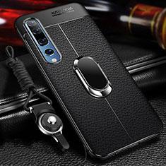 Funda Silicona Goma de Cuero Carcasa con Magnetico Anillo de dedo Soporte S04 para Xiaomi Mi 10 Negro