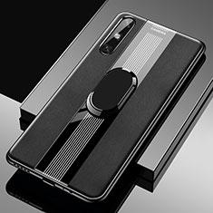 Funda Silicona Goma de Cuero Carcasa con Magnetico Anillo de dedo Soporte S05 para Huawei Enjoy 10e Negro
