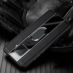 Funda Silicona Goma de Cuero Carcasa con Magnetico Anillo de dedo Soporte S05 para Huawei Mate 30 Lite Negro