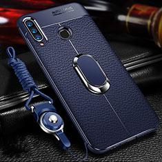 Funda Silicona Goma de Cuero Carcasa con Magnetico Anillo de dedo Soporte T01 para Huawei Honor 20 Lite Azul