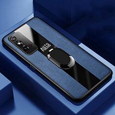 Funda Silicona Goma de Cuero Carcasa con Magnetico Anillo de dedo Soporte T01 para Huawei Honor X10 Max 5G Azul