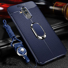 Funda Silicona Goma de Cuero Carcasa con Magnetico Anillo de dedo Soporte T01 para Huawei Mate 20 Lite Azul