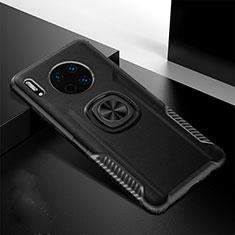 Funda Silicona Goma de Cuero Carcasa con Magnetico Anillo de dedo Soporte T01 para Huawei Mate 30 Negro