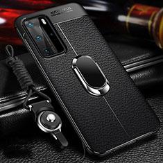 Funda Silicona Goma de Cuero Carcasa con Magnetico Anillo de dedo Soporte T01 para Huawei P40 Pro Negro