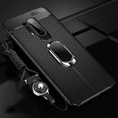 Funda Silicona Goma de Cuero Carcasa con Magnetico Anillo de dedo Soporte T01 para OnePlus 8 Pro Negro