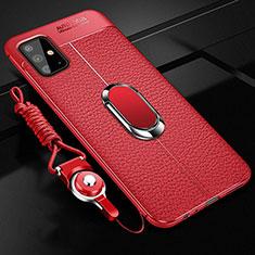 Funda Silicona Goma de Cuero Carcasa con Magnetico Anillo de dedo Soporte T01 para Samsung Galaxy A51 5G Rojo