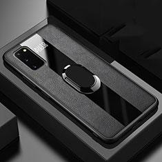 Funda Silicona Goma de Cuero Carcasa con Magnetico Anillo de dedo Soporte T01 para Samsung Galaxy S20 5G Negro