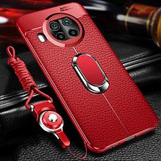 Funda Silicona Goma de Cuero Carcasa con Magnetico Anillo de dedo Soporte T01 para Xiaomi Mi 10T Lite 5G Rojo