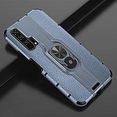 Funda Silicona Goma de Cuero Carcasa con Magnetico Anillo de dedo Soporte T02 para Huawei Honor 20 Pro Azul