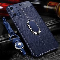 Funda Silicona Goma de Cuero Carcasa con Magnetico Anillo de dedo Soporte T02 para Huawei Honor X10 Max 5G Azul