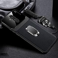 Funda Silicona Goma de Cuero Carcasa con Magnetico Anillo de dedo Soporte T02 para Huawei Mate 20 Lite Negro