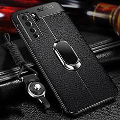 Funda Silicona Goma de Cuero Carcasa con Magnetico Anillo de dedo Soporte T02 para Huawei Nova 7 SE 5G Negro