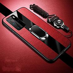 Funda Silicona Goma de Cuero Carcasa con Magnetico Anillo de dedo Soporte T02 para Huawei P40 Pro Rojo