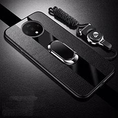 Funda Silicona Goma de Cuero Carcasa con Magnetico Anillo de dedo Soporte T02 para OnePlus 7T Negro