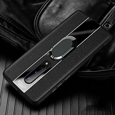 Funda Silicona Goma de Cuero Carcasa con Magnetico Anillo de dedo Soporte T02 para OnePlus 8 Negro