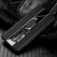 Funda Silicona Goma de Cuero Carcasa con Magnetico Anillo de dedo Soporte T02 para OnePlus 8 Pro Negro