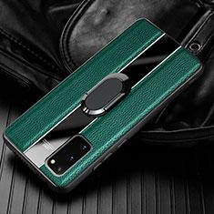 Funda Silicona Goma de Cuero Carcasa con Magnetico Anillo de dedo Soporte T02 para Samsung Galaxy S20 5G Verde