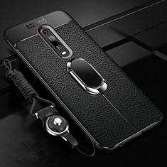 Funda Silicona Goma de Cuero Carcasa con Magnetico Anillo de dedo Soporte T02 para Xiaomi Mi 9T Pro Negro