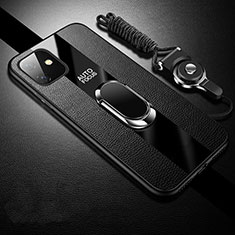 Funda Silicona Goma de Cuero Carcasa con Magnetico Anillo de dedo Soporte T03 para Apple iPhone 11 Negro