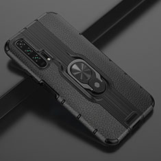 Funda Silicona Goma de Cuero Carcasa con Magnetico Anillo de dedo Soporte T03 para Huawei Honor 20 Pro Negro