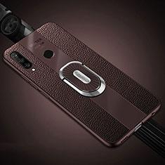 Funda Silicona Goma de Cuero Carcasa con Magnetico Anillo de dedo Soporte T03 para Huawei P30 Lite Marron