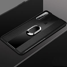 Funda Silicona Goma de Cuero Carcasa con Magnetico Anillo de dedo Soporte T03 para Xiaomi Redmi Note 8 Negro