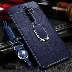 Funda Silicona Goma de Cuero Carcasa con Magnetico Anillo de dedo Soporte T03 para Xiaomi Redmi Note 8 Pro Azul