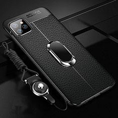 Funda Silicona Goma de Cuero Carcasa con Magnetico Anillo de dedo Soporte T04 para Apple iPhone 11 Pro Max Negro