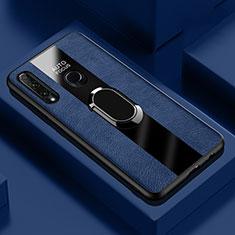 Funda Silicona Goma de Cuero Carcasa con Magnetico Anillo de dedo Soporte T04 para Huawei Honor 20 Lite Azul