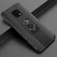 Funda Silicona Goma de Cuero Carcasa con Magnetico Anillo de dedo Soporte T04 para Huawei Mate 20 Pro Negro