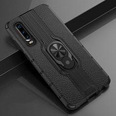 Funda Silicona Goma de Cuero Carcasa con Magnetico Anillo de dedo Soporte T04 para Huawei P30 Negro