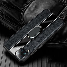 Funda Silicona Goma de Cuero Carcasa con Magnetico Anillo de dedo Soporte T04 para Huawei P40 Lite Negro