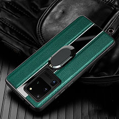 Funda Silicona Goma de Cuero Carcasa con Magnetico Anillo de dedo Soporte T04 para Samsung Galaxy S20 Ultra 5G Verde