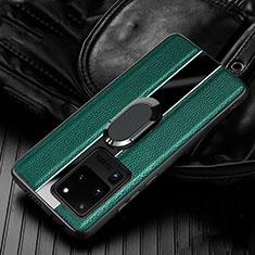 Funda Silicona Goma de Cuero Carcasa con Magnetico Anillo de dedo Soporte T04 para Samsung Galaxy S20 Ultra Verde