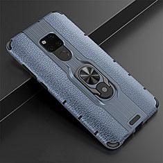 Funda Silicona Goma de Cuero Carcasa con Magnetico Anillo de dedo Soporte T05 para Huawei Mate 20 Azul