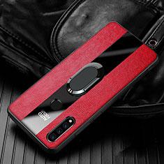 Funda Silicona Goma de Cuero Carcasa con Magnetico Anillo de dedo Soporte T05 para Huawei P30 Lite Rojo