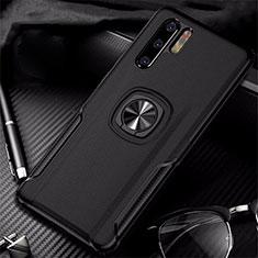 Funda Silicona Goma de Cuero Carcasa con Magnetico Anillo de dedo Soporte T05 para Huawei P30 Pro Negro