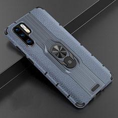 Funda Silicona Goma de Cuero Carcasa con Magnetico Anillo de dedo Soporte T06 para Huawei P30 Pro Azul