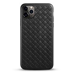 Funda Silicona Goma de Cuero Carcasa G01 para Apple iPhone 11 Pro Max Negro